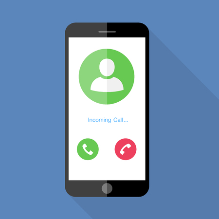 screen: Flat design the smartphone with incoming call on screen