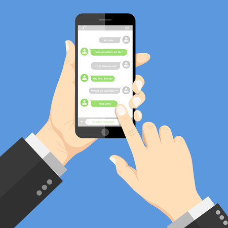 Flat  Design style human hand holding  the smartphone with chat online application on screen Vectores