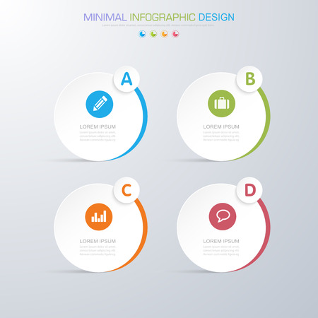 Infographic elements with business icon on full color background process or steps and options workflow diagrams, vector design element illustration.