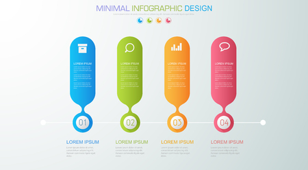 Infographic Elements with business icon on full color background circle process or steps and options workflow diagrams, vector design element eps10 illustration.
