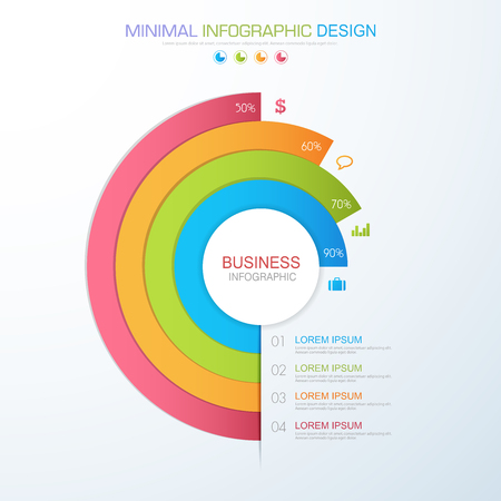 Infographic Elements with business icon on full color background process or steps and options workflow diagrams, vector design element eps10 illustration. Illustration