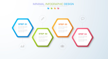 Info-graphic elements with business icon on full color background circle process or steps and options workflow diagrams. Vector design element illustration.