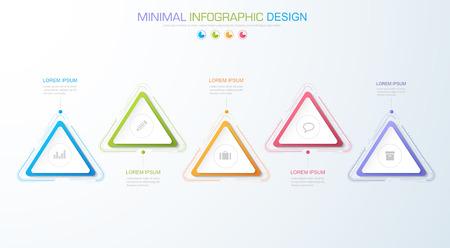 Elementos de información gráfica con icono de negocios en proceso de círculo de fondo a todo color o diagramas de flujo de trabajo de pasos y opciones. Ilustración de elemento de diseño vectorial.