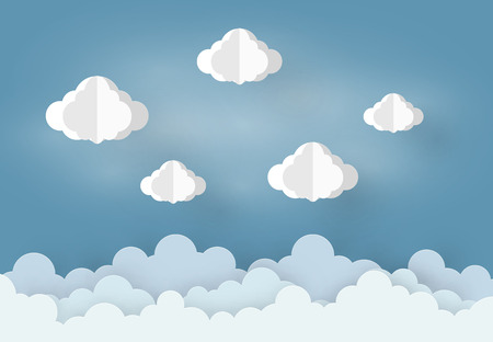 Paper art design mobile style  Cloud and Rain on blue background, vector design element illustration