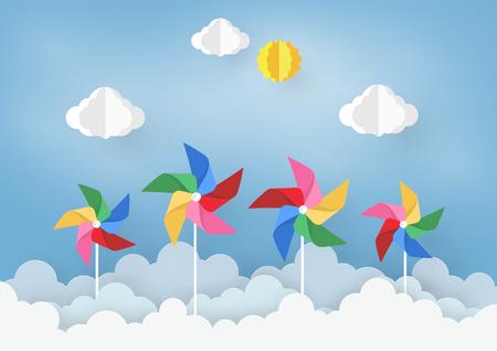 Diseño de arte en papel con nube y molinete sobre fondo azul claro, ilustración de elemento de diseño vectorial