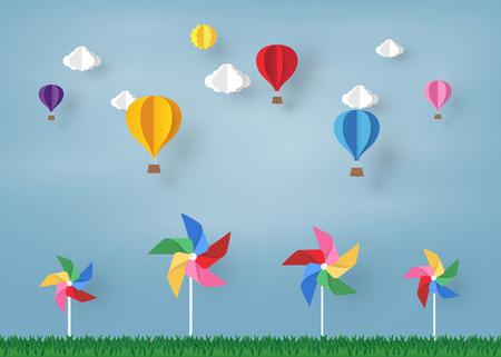 Globos de colores y nubes en el cielo azul y molinete con diseño de arte de papel, elemento de diseño vectorial e ilustración