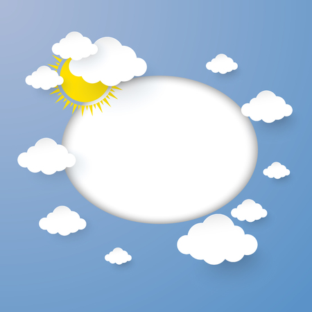 Cloud and Sun in the Blue sky with Blank Circle  design paper art style. vector illustration