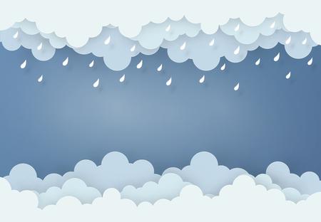 Estilo de diseño de arte de papel, el concepto es temporada de lluvias, nubes y lluvia sobre fondo oscuro.