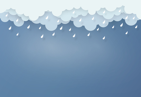 Paper art design style the concept is rainy season, Cloud and rain on dark background.