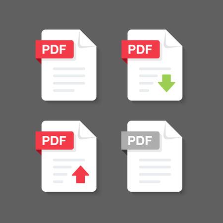 Flat design with PDF files download document,icon,symbol set, vector design element illustration 向量圖像