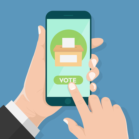 Flat design style human hand  holding smartphone or tablet  with Vote app in the screen , vector design element illustration