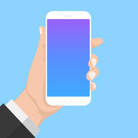 Flash Design with long shadow hand Holding the smart phone with  Blank screen ,vector design Element illustration Illustration