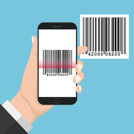 Flash Design with long shadow Hand Holding the smart phone with  Bar code  on screen. The concept is Bar code Scan on Smart Phone ,vector design Element illustration