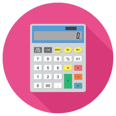 A calculator vector icon isolated on plain circular  background. Vectores
