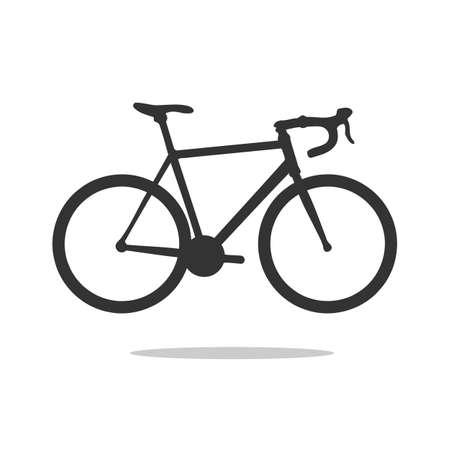 Silueta de bicicleta de carretera, ilustración vectorial detallada. Vector icono de bicicleta de carretera.
