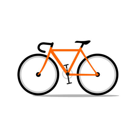 orange road bicycle. Vector illustration isolated on white.