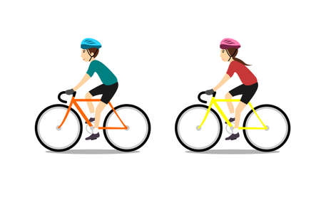 man and girl riding bike isolated on white background in flat style Illustration