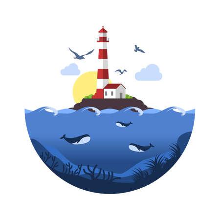 Lighthouse on rock stones island with underwater scene. Vector Illustration