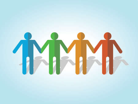Colorful people cut outs on a blue background