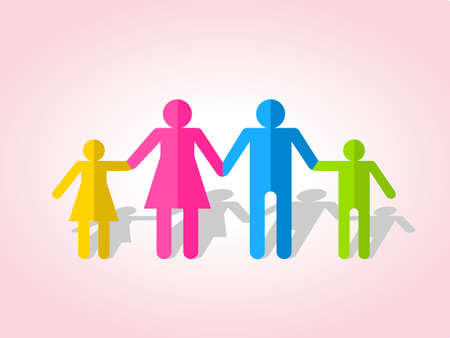 Happy family together on Silhouettes of people cut out of paper. Vector