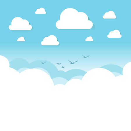White and transparent clouds on the blue sky with flying birds. Vector illustration.
