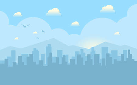 Morning city skyline. Buildings silhouette cityscape with mountains. Big city streets. Blue sky with sun and clouds. Vector illustration.