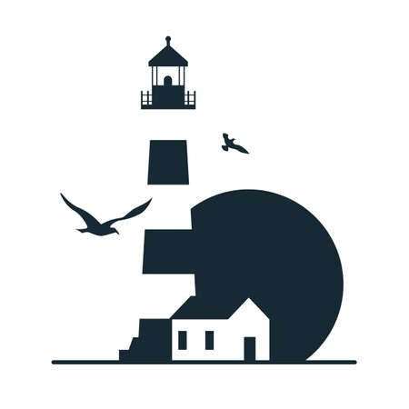 Lighthouse logo template design. Vector illustration. Vettoriali