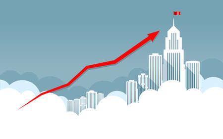 Business graph. Red Arrow. On background business city center with skyscrapers and large buildings. Vector illustration