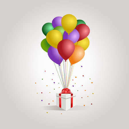 White gift box with red ribbon and balloon on white background. minimal christmas new year concept. Vector Ilustração