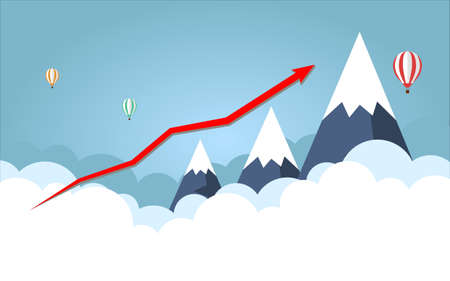Business graph. Red Arrow. On background High mountain with sky. Vector illustration