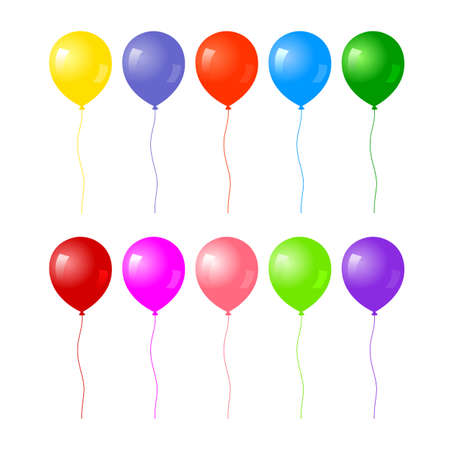 Colorful realistic helium balloons isolated on white background. vector illustration.