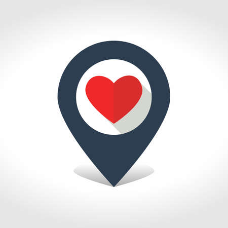 Map pointer with heart inside. Vector illustration.