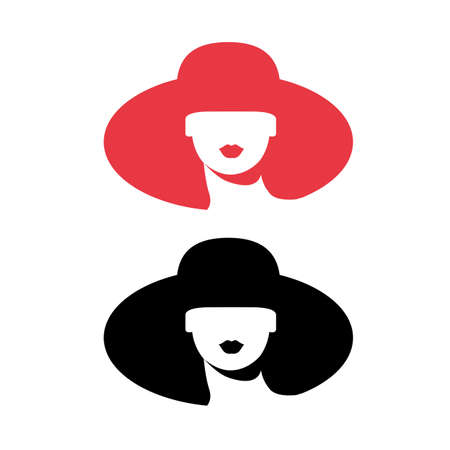 Woman silhouette, head, face icon isolated. Use for beauty salon, spa, cosmetics design. Ilustrace
