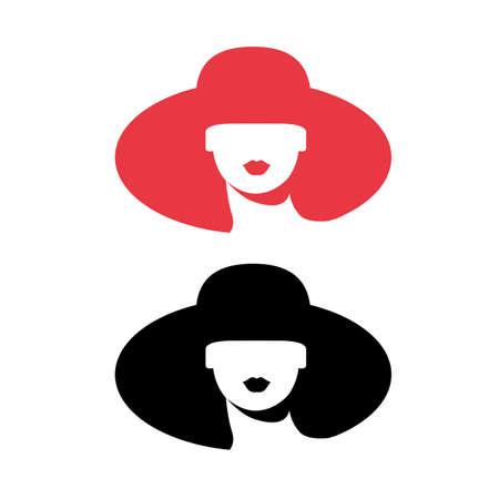 Woman silhouette, head, face icon isolated. Use for beauty salon, spa, cosmetics design. Ilustração