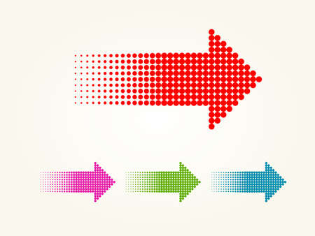 dotted arrows. Halftone effect vector templates illustration.