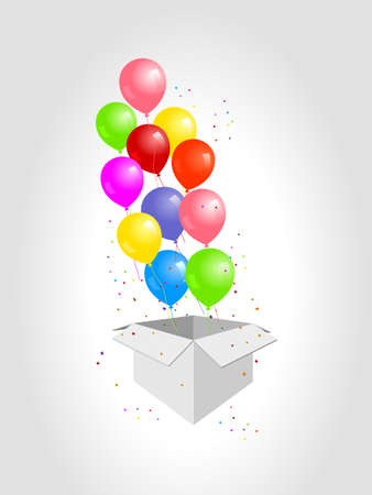 White gift box with balloon on white background. minimal christmas new year concept. Vector