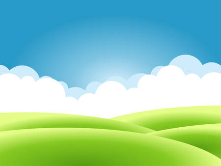 Summer nature background, a landscape with green hills and meadows, blue sky and clouds. Vector illustration