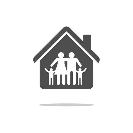 Family in House Icon. Vector isolated flat illustration.