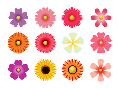 Set of flat icon flower icons in silhouette isolated on white. Ilustração