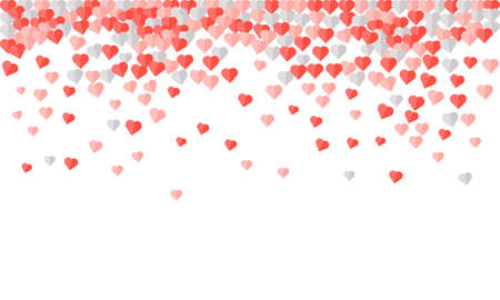 Heart confetti of Valentines petals falling on white background. Pink pattern of random falling hearts confetti.