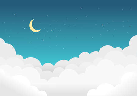 Sky and clouds background with bright stars and half moon. vector illustration.
