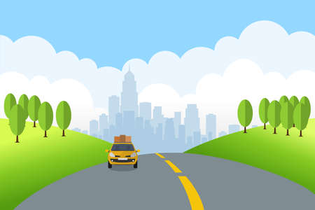 Cartoon landscape with travel car rides on the road of Summer. Vector illustration.