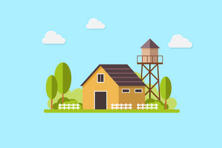 Cute residential country house and water tank, country landscape, trendy flat style vector design template. vector illustration.