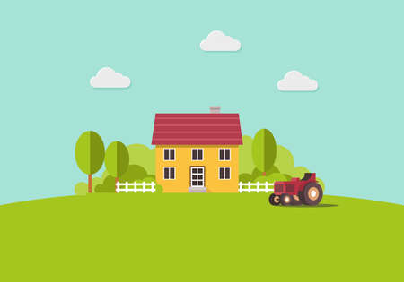 Country house and Tractor, country landscape, trendy flat style vector design template. Vector illustration.