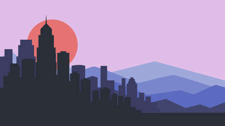 City skyline vector illustration. Urban landscape. purple city silhouette. Cityscape in flat style. Modern city landscape. Cityscape backgrounds. vector illustration.