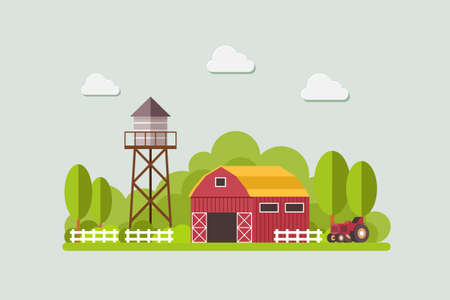 farm with water tank and Tractor, country landscape, trendy flat style vector design template. vector illustration. Stock Illustratie