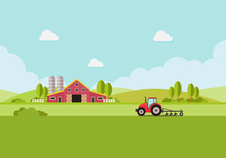 farm with water tank and Tractor, country landscape, trendy flat style vector design template. vector illustration. Ilustração