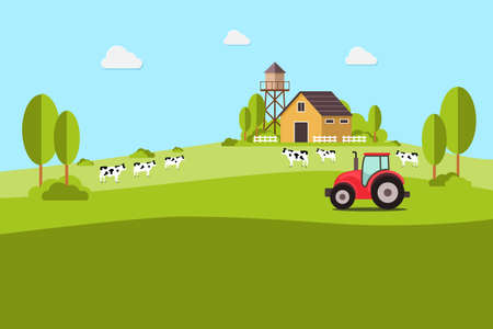 Agriculture and farming, agribusiness, rural landscape. Design elements for info graphic, websites and print media vector illustration.