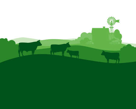 Rural landscape with milk farm and herd cows. vector illustration.