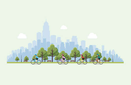 Men and women riding bicycles in the park. Vector Illustration of a flat design.